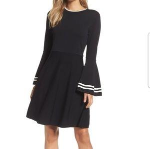 Eliza J Sripe Bell Sleeve Fit & Flare Dress